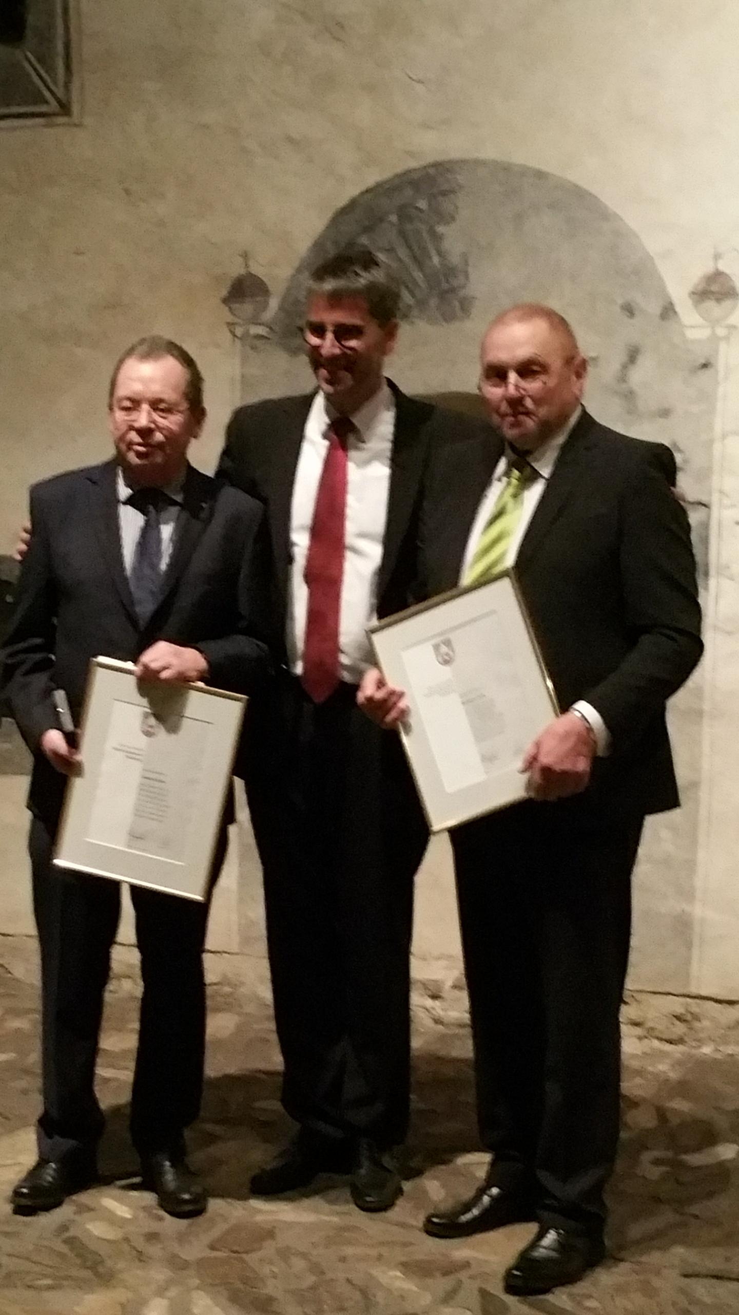 Foto Michael Deike - Helmut Zein mit OB Dr. Oliver Junk und Armin Klabe